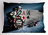 Lunarable Poker Tournament Pillow Sham, Gambling Chips and Pair Cards of ACES Casino Wager Games Hazard Print, Decorative Standard King Size Printed Pillowcase, 36 X 20 inches, Multicolor