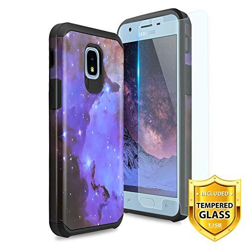 TJS Samsung Galaxy J3 2018/J3 V 2018/J337/Express Prime 3/J3 Star/J3 Orbit/J3 Achieve/J3 Prime 2/Amp Prime 3/Sol 3 Case, with [Tempered Glass Screen Protector] Hybrid Shockproof Phone Case (Stardust)