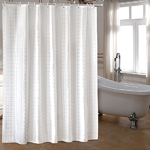 Ufaitheart Extra Long Fabric Shower Curtain 72 X 78 Inch Heavy Duty For Luxury Hotel Pure White