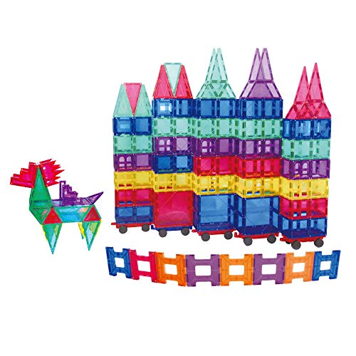 FunEdu Upgraded 100-piece Magnetic Tiles Building Blocks, Deluxe Super Strong...