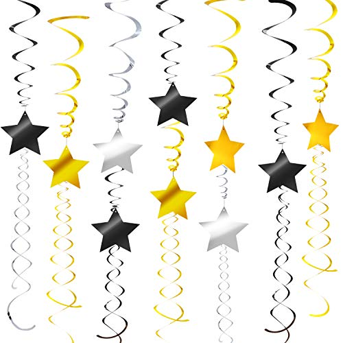 36 Pieces Hanging Swirl Party Decoration Star Swirls for Movie Theme Party, Graduation, Pre-Prom, 60th Birthday Party