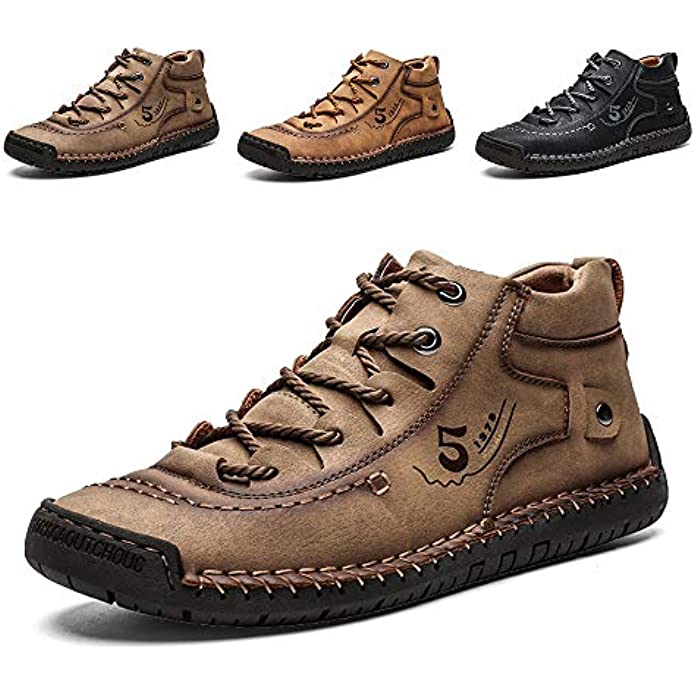 Lightweight Mens Casual Shoes Genuine Leather Mid top Slip On Walking Cowhide Driving Boots