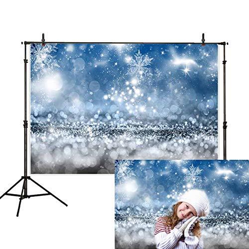 Allenjoy 7x5ft Winter Christmas Snowflake Bokeh Photography Backdrop White Snow Sparkle Spots Fairytale Glitter Baby Portrait Background Decoration Photo Studio Props -