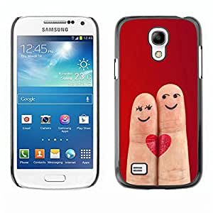 LECELL -- Funda protectora / Cubierta / Piel For Samsung Galaxy S4 Mini i9190 MINI VERSION! -- Funny Love Fingers Cute Heart --