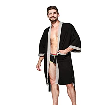 BCL-Pijama Bata De Toalla Terry Bata De Baño para Hombre Bata De Algodón Batas De Niño (Color : Negro, Tamaño : Metro): Amazon.es: Hogar