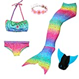 Fishkidtai 5 Piece Mermaid Tail Swimsuit with Removable Fin and Included Monofin and Flower Garland Headband, Wet and Dry Outfit for Children and Teens (120(5-6Y), B Rainbow)