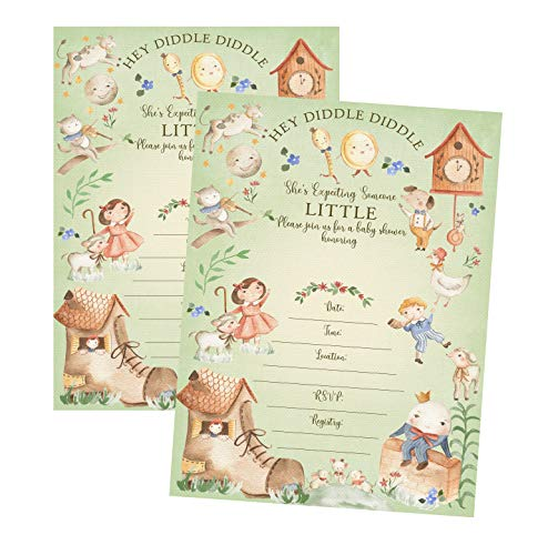 Hey Diddle Diddle She's Expecting Someone Little Baby Shower Invite Set of 12 (Baby Shower Invitation)