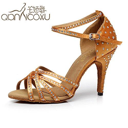 DGSA Fashion Dance Schuhe oder Sandalen Frau Diamond Latin Dance Shoe nach Bekanntschaft mit Tanz Schuh Frühling und Sommer Tanz high-heel, Gelb mit hoher 8.5Cm, 43