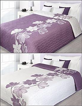 jet de lit 220 x 240 lilycrmeviolet - Dessus De Lit Violet