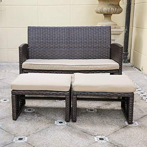 OC Orange-Casual 3 Piece Patio Furniture Set Wicker Loveseat with 2 Ottomans, Bistro Set for Porch, Garden, Poolside (Brown) (Cushion Ottoman Outdoor Wicker)