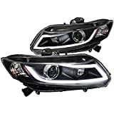 Spec-D Tuning 2LHP-CV12JM-8V2-TM Honda Civic LED Light Bar Projector Headlights Black