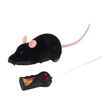 Ratón de peluche electrónico Rosenice con mando a distancia, juguete para gatos, perros y niños (negro): Amazon.es: Productos para mascotas