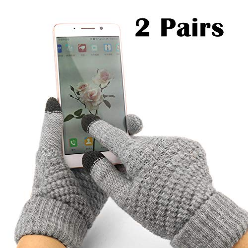 YICHUMY 2 Pairs Knit Capacitive Gloves Touch Gloves Unisex Touchscreen Gloves for Woman and Man Smartphone Gloves Touch Screen Gloves for Man (Grey) ()