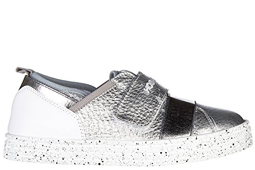 Hogan Rebel BabyschuheSneakers Kinder Baby Schuhe Turnschuhe Neur141 strap Silb