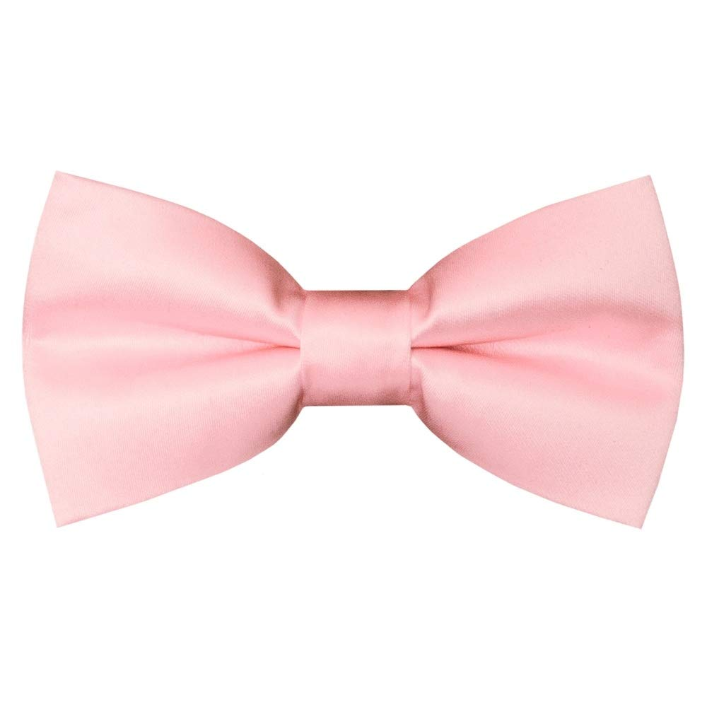 TIES R US Pre Tied Blush Pink Satin Boys Bow Tie and Pocket Square Set Dickie Bow Set