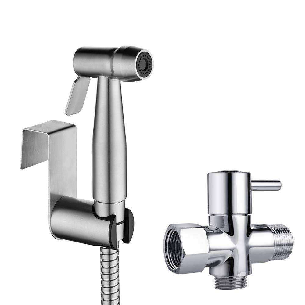 Handheld Bidet Sprayer for Toilet Attachment-Hand Held Bidet Shower Set in Bathroom-Stainless Steel Muslim Shower and Baby Cloth Diaper Sprayer Kit-Complete Shattaf Combo with T adapter and Bidet Hose