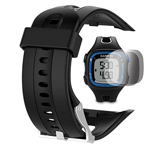TUSITA Replacement Silicone Band Strap Accessory For Garmin Forerunner 10 15 (Large 2.5CM Screen) With Screen Protector(Black)