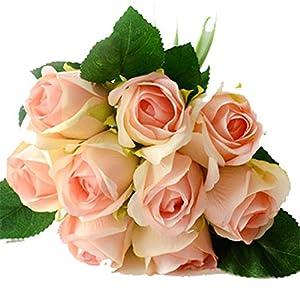 7/8/9/12Pcs/Lot Artificial Rose Flowers Wedding Bouquet New Year Pink Royal Rose Silk Flower Home Decoration Wedding Party Decor 9PCS Pink Champange 12