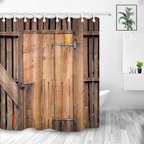 NYMB Rustic Wooden Board Barn Door Wallpaper Shower Curtains, Retro Cowboy Western Country Farm House Wood Plank,Fabric Shower Curtain, Bathroom Accessory Sets, Hooks Included, 70X70in