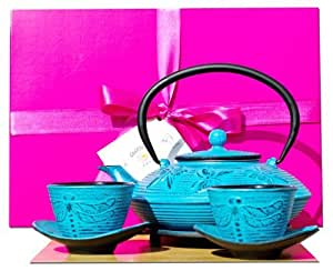 Gifts Of The Orient GOTO® - Salvamanteles De Regalo Caja F - Hierro Fundido Luz Azul Mariposa Juego De Té D 0.8 Litros - Tazas & Tetera Cafetera Tetsubin Estilo Japonés
