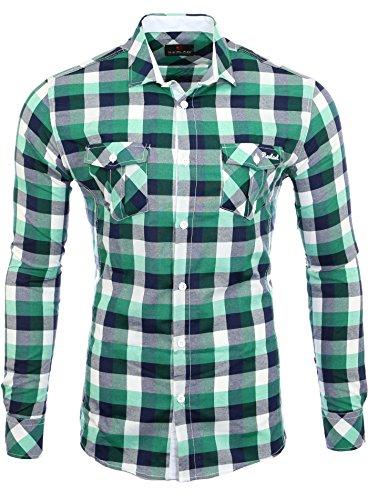 Reslad Herren-Hemd Slim Fit Freizeithemd Karo-Hemd Orlando RS-7060