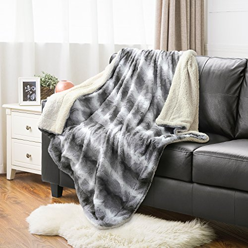 "Faux Fur Throw Blanket PV Fleece Bed Throws 60""x80"" Solid Li"