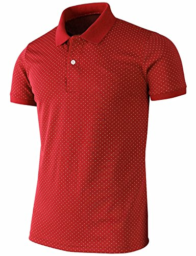 Bcpolo Men's Polo Shirt Casual Short Sleeves Polka Dots Pattern Golf Polo Shirt Red-S (Asia-L)