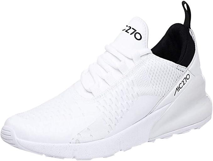 LILILIGOD - Zapatillas Deportivas para Hombre, de Malla, para Correr, para Ocio, atlético, Antideslizantes, Ligeras, cómodas, Transpirables, Antideslizantes, Color Blanco, Talla 43 EU: Amazon.es: Zapatos y complementos