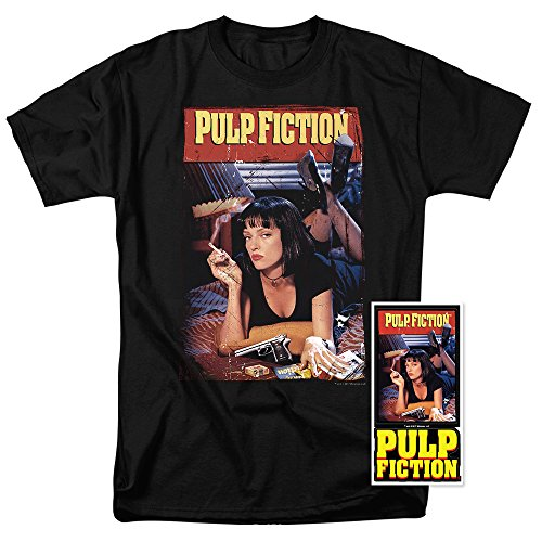 Pulp Fiction Movie Poster Uma Thurman T Shirt & Exclusive Stickers (Small)