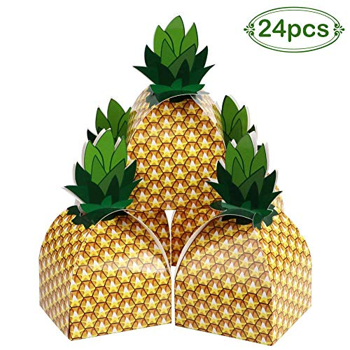 Aparty4u 24pcs Pineapple Favors Boxes, 3D Large Decorative Cardboard Hawaiian Party Boxes Treat Bags for Luau Fruit Party, Cute Birthday Baby Shower Party Favors
