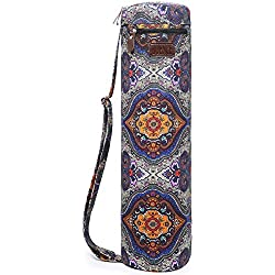 Boence Yoga Mat Bag, Full Zip Exercise Yoga Mat Sling Bag with Sturdy Canvas, Smooth Zippers, Adjustable Strap, Large Functional Storage Pockets - Fits Most Size Mats (Celestial)