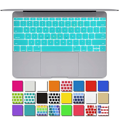 """DHZ® New Macbook Keyboard Cover Silicone Skin for The Latest Apple New Macbook Retina 12"""" Inch 2015 Version (Lake Blue)"""