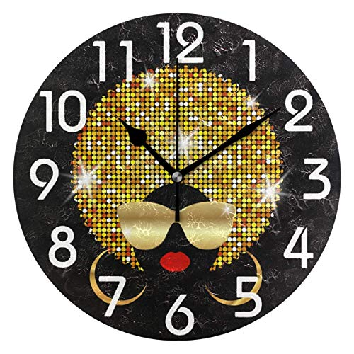 (Dozili Fashion African Woman Portrait Print with Shiny Hair Gold Sunglasses Round Wall Clock Arabic Numerals Design Non Ticking Wall Clock Large for Bedrooms,Living Room,Bathroom)