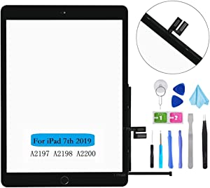 """T Phael Black Touch Screen Digitizer Repair Kit for iPad 10.2"""" 2019 iPad 7 7th Gen A2197 A2198 A2200 Front Glass Replacement (with Home Button,not Include LCD) + Tools"""