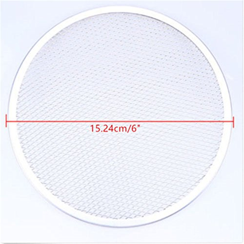 - CH 6 inch Aluminum Flat Mesh Pizza Screen Round Baking Tray Net Kitchen Tools