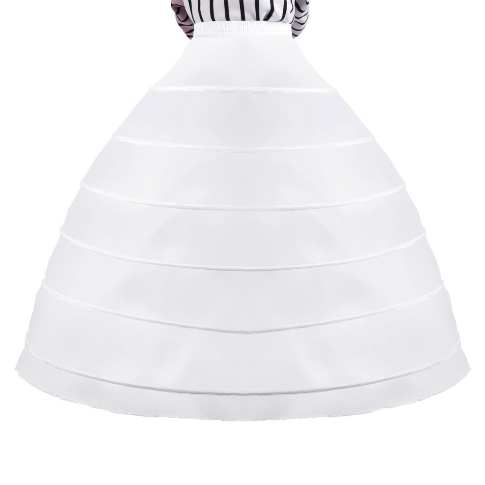5dcd2ce4018f 6-Hoop large full-sized white wedding petticoat, this full petticoat is  single layer with Six Strong Adjustable hoops make full dome shape.