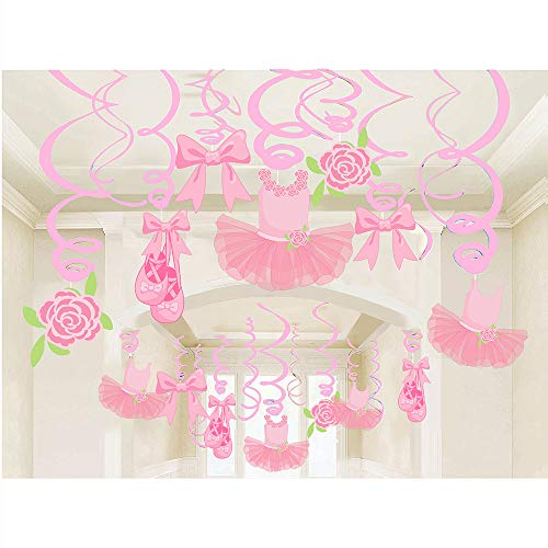 30Ct Ballerina Hanging Swirl Decorations - Pink Tutus Ballet Shoes Bow-knot Rose Ballerina Birthday Party Supplies Theme Party Wedding Anniversary Christmas New Year Fan Decors