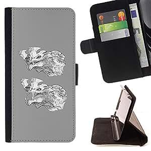 BullDog Case - FOR/LG Nexus 5 D820 D821 / - / GREY WOLF CARTOON WHITE CHARACTER /- Monedero de cuero de la PU Llevar cubierta de la caja con el ID Credit Card Slots Flip funda de cuer