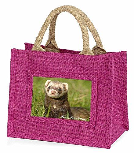 Advanta–Mini Pink Jute Tasche Iltis Frettchen Love You Mum Little Mädchen klein Einkaufstasche Weihnachten Geschenk, Jute, pink, 25,5x 21x 2cm