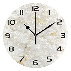 Baofu Marble Wall Clock Round Vintage Retro Silent Non Ticking Battery Operated Accurate Arabic Numerals Design Decorative for Home Kitchen Living Room Bedroom Office(10 Inch)