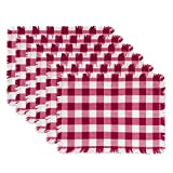 DII Washable Heavyweight Fringed Cotton Placemat, Set of 6, Wine Red & White Check - Perfect for Fall, Thanksgiving, Picnics and Everyday Use