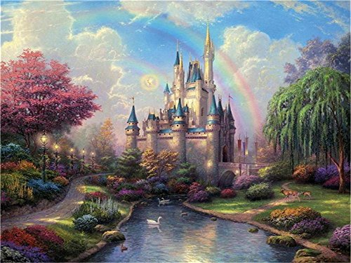 (Laeacco 6.5x5ft Vinyl Backdrop Castle Photography Background Princess Girls Royal Garden River Path Forest Old Castle Trees Rinbow Cloud Sky Wonderful Land Fantasy Photo Backdrops Children Adults)