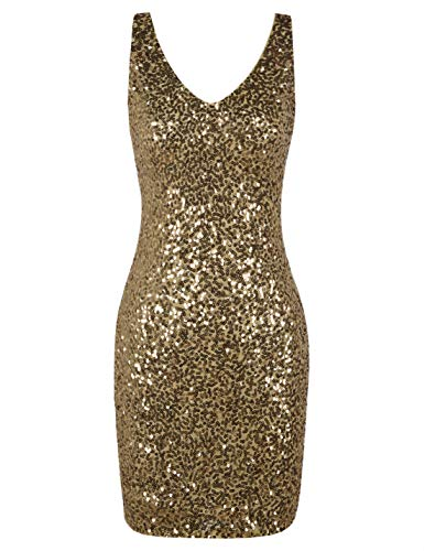 Gold Party Dress - PrettyGuide Women's Sequin Cocktail Dress V Neck Bodycon Glitter Party Dress S Gold