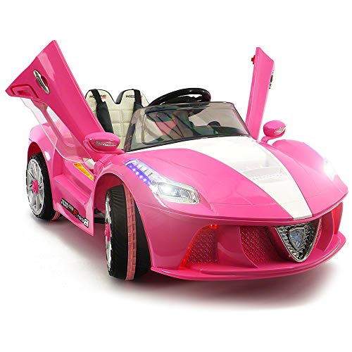 - 2019 Girls Sport Kids Car Ride On Car Electric Battery Power w/ Skyline Doors, Leather Seat, Remote Control