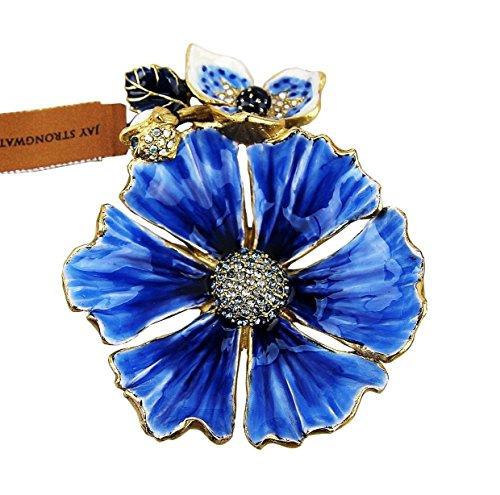 Jay Strongwater Maya Anemone Flower Trinket Tray Indigo Swarovski New USA