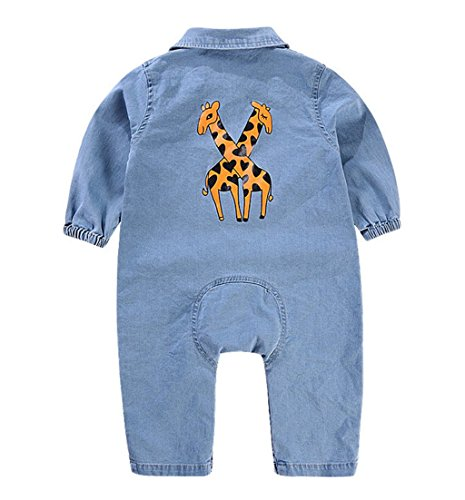 Toddler Baby Boys Girls Long Sleeve Denim Romper Jumpsuit Outfit Clothes