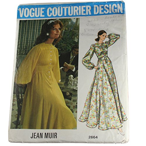 (Vogue 2664 Vintage 1970s Couturier Design Jean Muir Pin Tuck Romantic Dress Sewing Pattern B36)