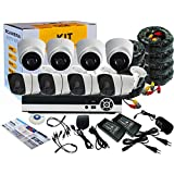 Tomvision 8Channel AHD CCTV Complete Kit 8CH Kit with Hybrid 5in1 1080N DVR Security Recording System and 4pcs Metal Outdoor Bullet 4pcs Plastic Dome Camera Alarm System&P2P Clouds Home Security
