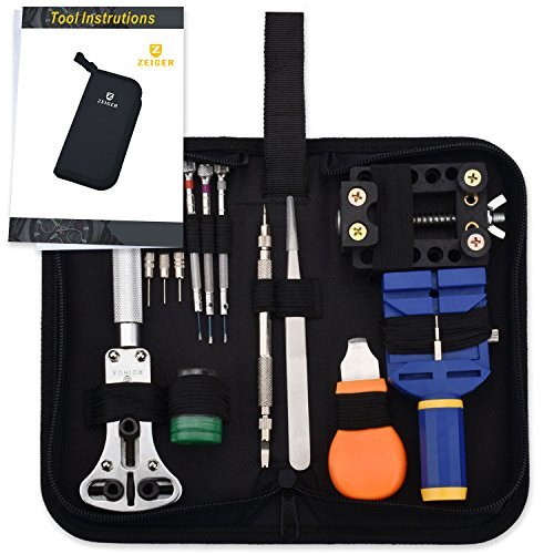 Zeiger Professional Watch Repair Tool Resizing Kit, High Quality Watch Band Battery Replacement Case Opener Spring Bar Adjustment Remover Tool Set Bonus