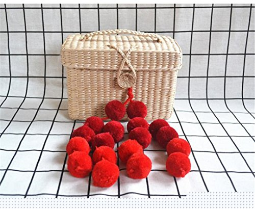 - 17X12cm Latest Mini Cabbage Basket Rattan Straw Woven Bag Female Handbag Box Shaped With Pompom Ball Decoration
